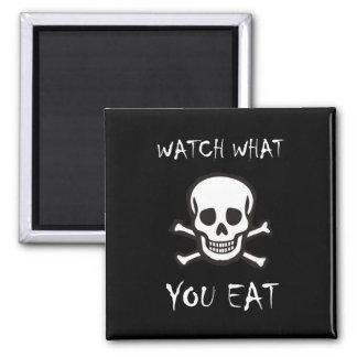 ¡Reloj qué usted come! Imán Cuadrado