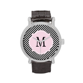 Reloj rayado negro y blanco del monograma