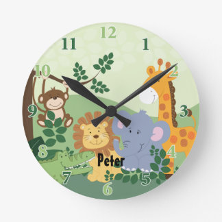 Reloj redondo adaptable del safari de selva