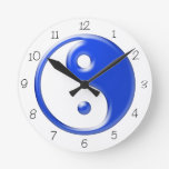 Reloj redondo azul de Yin Yang