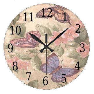 Reloj redondo de la mariposa