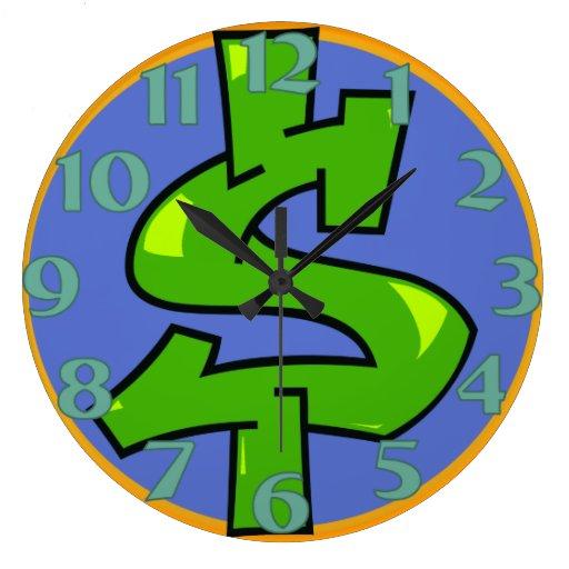 Reloj redondo de la muestra de dólar