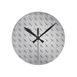 Reloj redondo de la placa del diamante