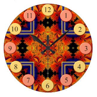 Reloj redondo de los fractales llameantes