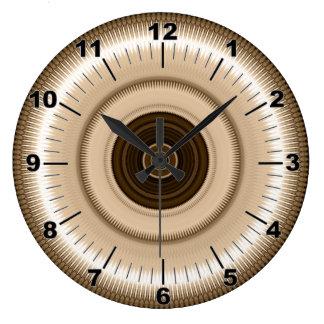 Reloj redondo del caleidoscopio beige plateado