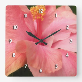 Reloj redondo del hibisco rosado