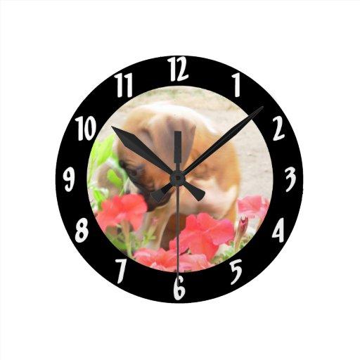 Reloj redondo del perrito del boxeador