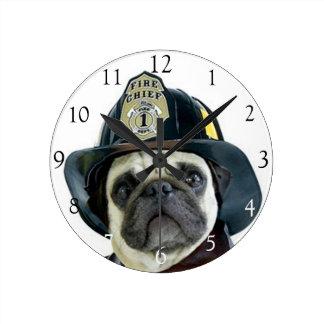 Reloj redondo del perro del barro amasado del bomb