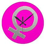 Reloj redondo del símbolo femenino