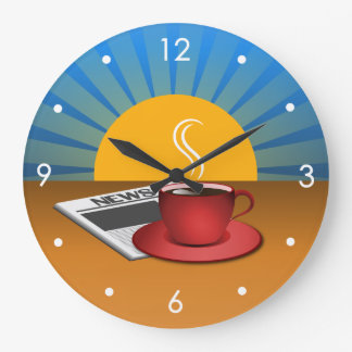 Reloj redondo grande del café de la taza de café d