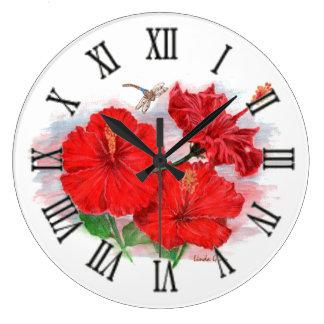 Reloj redondo grande del hibisco y de la libélula