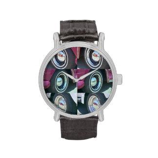 Reloj reflector de la correa de cuero del vintage