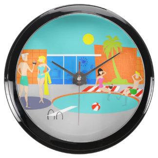Reloj retro de la aguamarina de la fiesta en la reloj aquavista