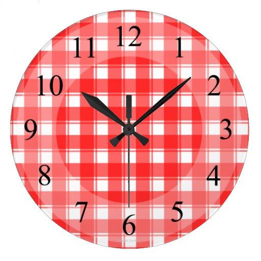 Reloj retro de la cocina de la tela escocesa blanc