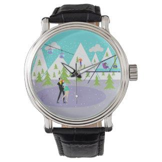 Reloj retro de la estación de esquí del invierno