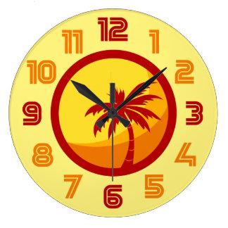 Reloj retro de la ola de calor de la palmera de la