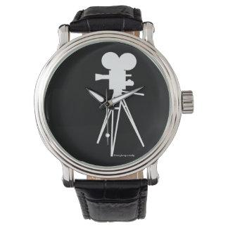 Reloj retro de la silueta de la cámara de película