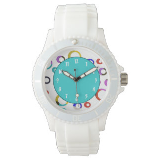 Reloj retro de los aros de Colorblock - turquesa