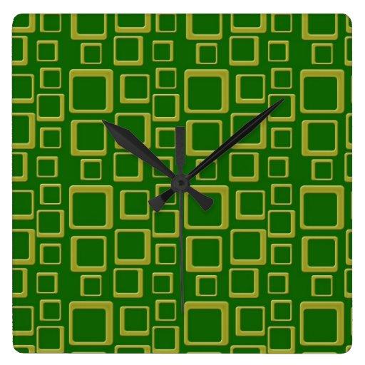 Reloj retro de oro y verde del cuadrado del modelo