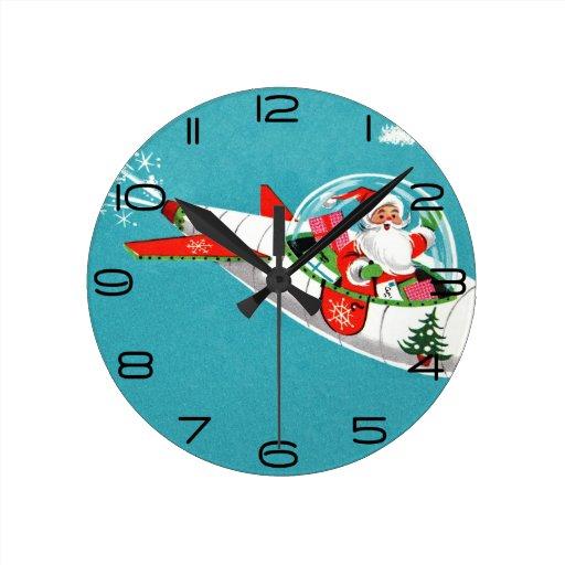 Reloj retro del navidad de Santa de la nave espaci