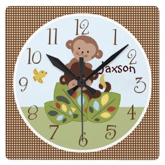Reloj rizado personalizado de los monos de las