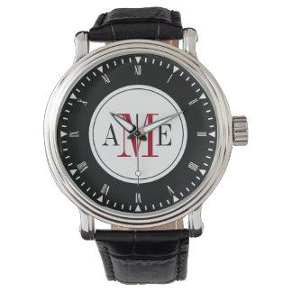 Reloj rojo con clase del monograma de los hombres