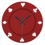 Reloj rojo de la ficha de póker