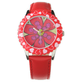 Reloj rojo de la flor
