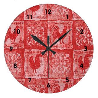 Reloj rojo de la impresión de los gallos del país