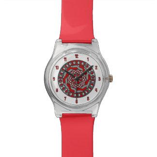 Reloj rojo de la maquinaria May28th
