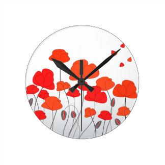 Reloj rojo de las amapolas