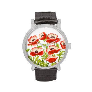 Reloj rojo de las flores de la amapola oriental