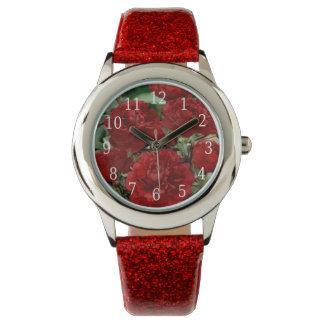Reloj rojo de las flores del clavel