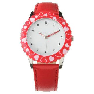 Reloj rojo de los corazones del acero inoxidable