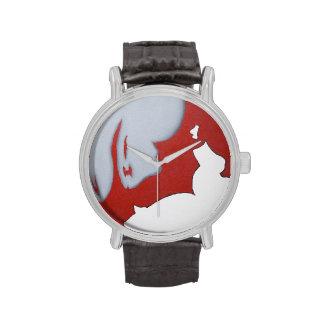 Reloj rojo del arte abstracto