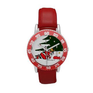 Reloj rojo del bisel de los gatos del niño envuelt