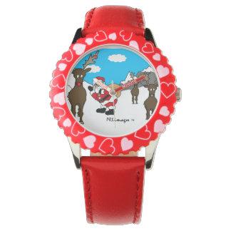 Reloj rojo del bisel de los niños del navidad de