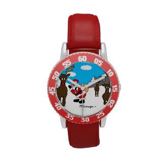 Reloj rojo del bisel de los niños del navidad de B