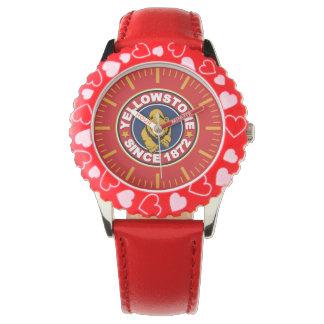Reloj rojo del círculo de Yellowstone