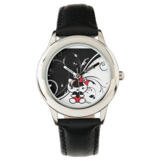 Reloj rojo del gatito de Emo de los niños