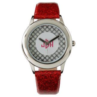 Reloj rojo del monograma de la MOD de la correa