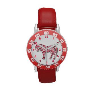 Reloj rojo del potro del caballo del corazón
