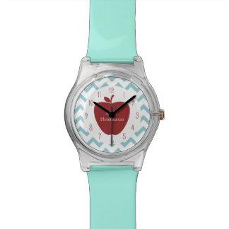 Reloj rojo del profesor de Chevron Apple de la agu