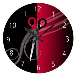 reloj rojo del salón de pelo