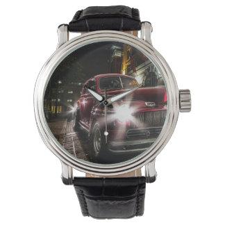 Reloj rojo del vintage del coche del vintage
