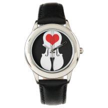 Reloj rojo del violín y negro liso