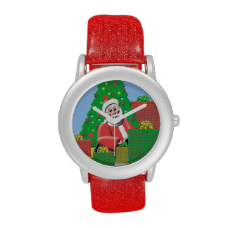 Reloj rojo lindo del día de fiesta de Santa