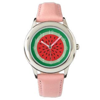 Reloj rojo maduro de la rebanada de la sandía