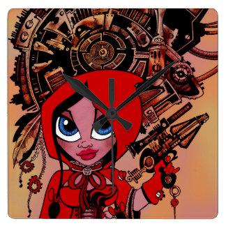 Reloj rojo punky de la capa con capucha del vapor