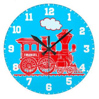 Reloj rojo y azul del tren del nombre de los niños